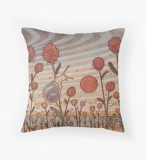 Snail in the Flowers Throw Pillow