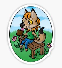 Summertime Treat - Coyote with Ice Cream Sticker
