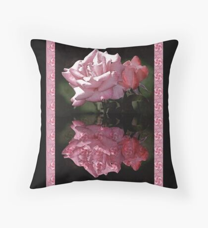 Passionately Pink Rose Duo Throw Pillow