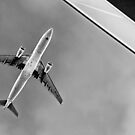 Black + white plane abstract by James  Kerr