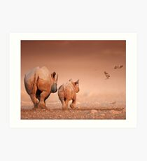 Black Rhino cow and calf Art Print