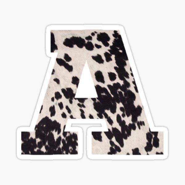 cow print letter - A Sticker