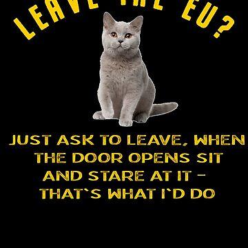 Brexit T Shirt Funny Remain EU No Deal T-Shirt Euro Cat by thehadgaddad