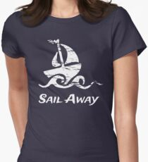 Sail Away: White Sailboat Women's Fitted T-Shirt