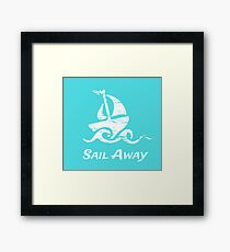 Sail Away: White Sailboat Framed Print