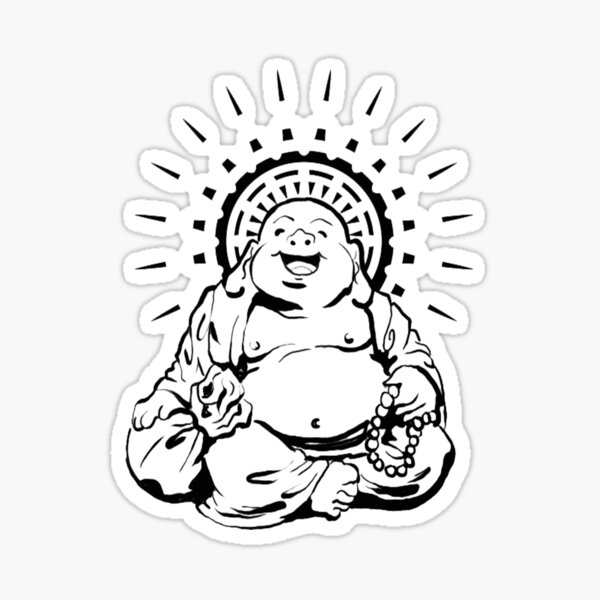 Sunburst Happy Buddha Sticker