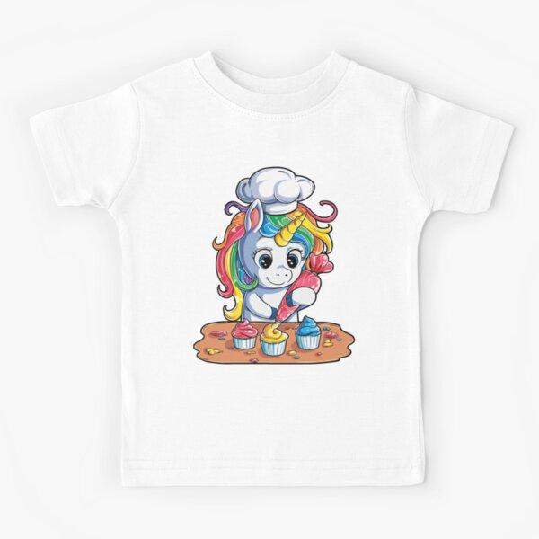 Fantasy Unicorn with Long Blue Hair Girls Cotton Short-Sleeved T-Shirt Cartoon Cute Funny