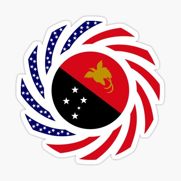 Papau New Guinean American Multinational Patriot Flag Series Sticker