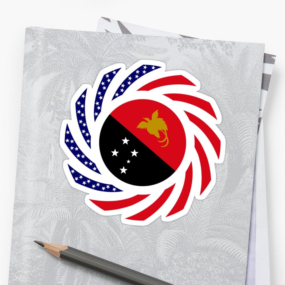 Papau New Guinean American Multinational Patriot Flag Series Sticker