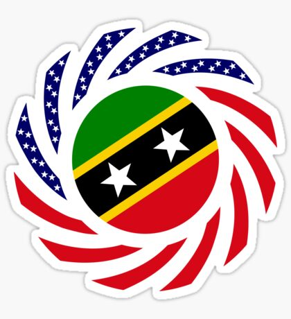 Kittian and Nevisian American Multinational Patriot Flag Series Sticker