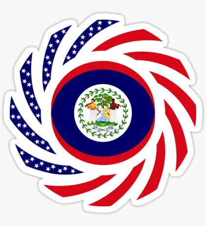 Belizean American Multinational Patriot Flag Series Sticker
