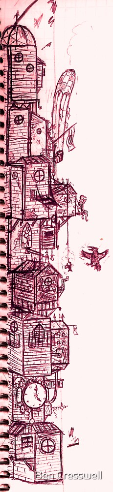 City in the sky full doodle by Ben Cresswell