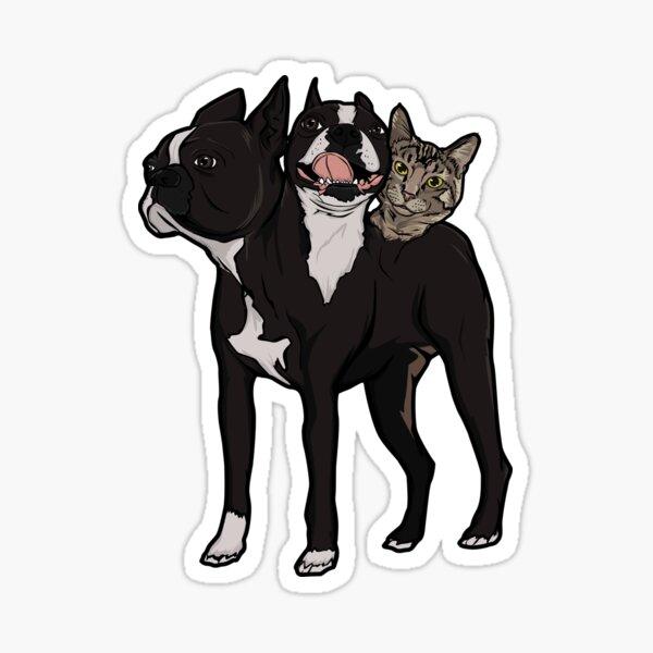 3 Headed Cat Dog Sticker