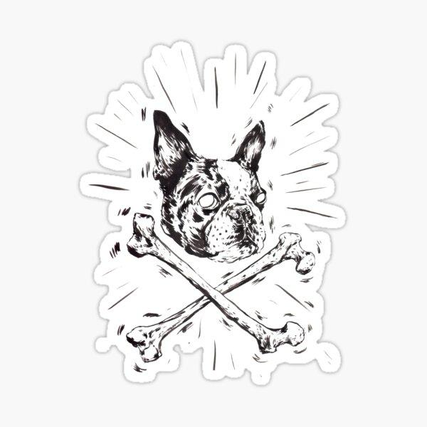Pirate Boston Terrier Flag Sticker