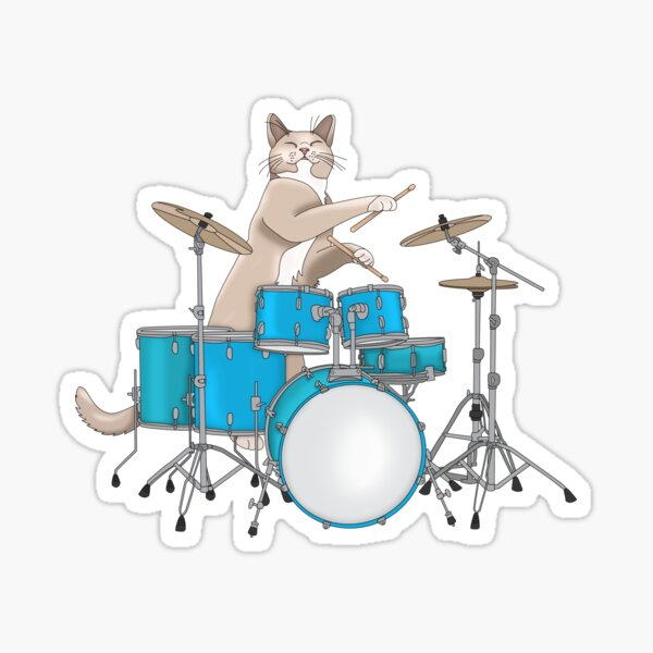 Cat Playing Drums - Blue Sticker