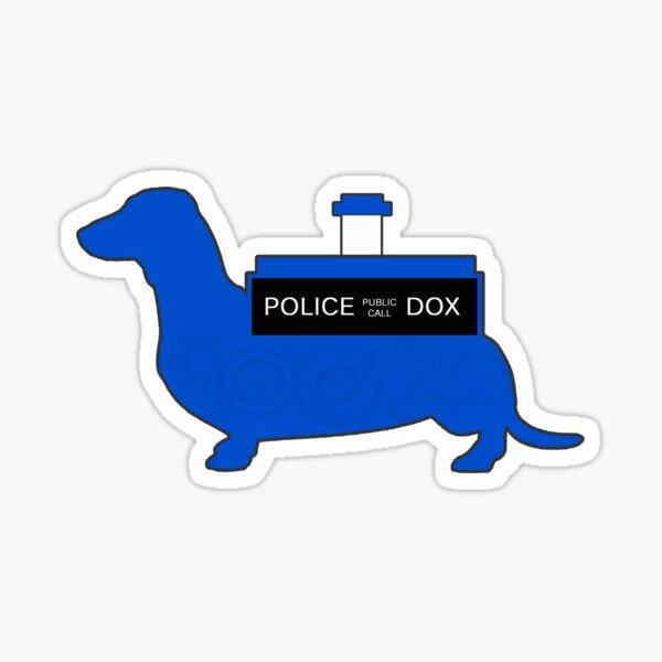Dachshund Lovers - Tardis Blue  Sticker