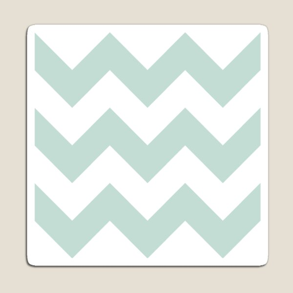 Light Teal and White Chevron Pattern Magnet
