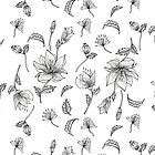 Flower line art illustration pattern by ClaireKang