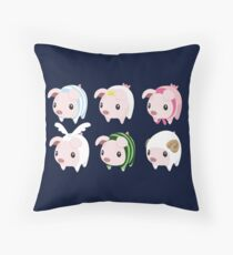 Poogie Piggie Monster Hunter Print all 6  Throw Pillow