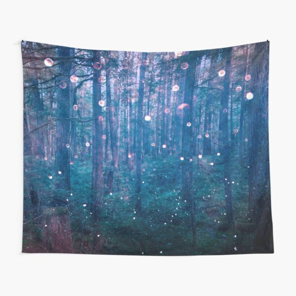 Forest Trees Magical Path - Blue Magic in the Woods Tapestry