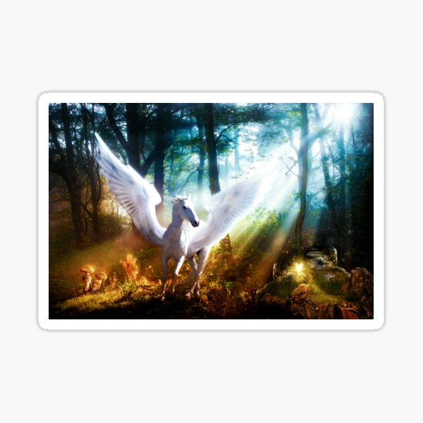 White Pegasus Meets Little Fairy Sticker