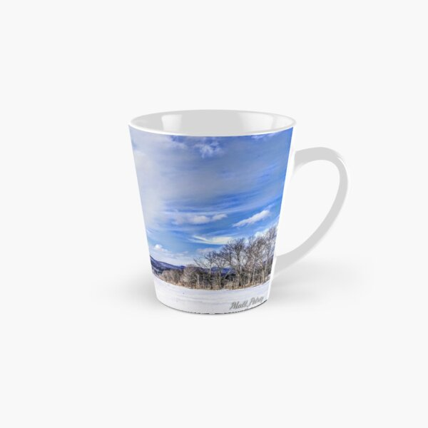 Snowy mountain with clouds Tall Mug