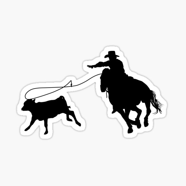 Rodeo Theme - Calf Roping Silhouette Sticker