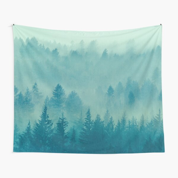 Fog Forest - Blue Green Washington State Woods Foggy Trees  Tapestry
