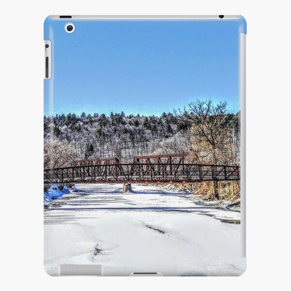 snowy bridge over river iPad Snap Case