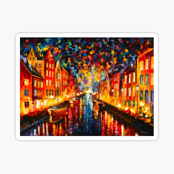 NIGHT COPENHAGEN - Leonid Afremov Sticker