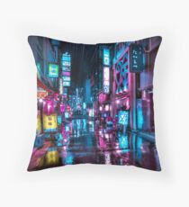 Tokyo at Night - Shimbashi Throw Pillow