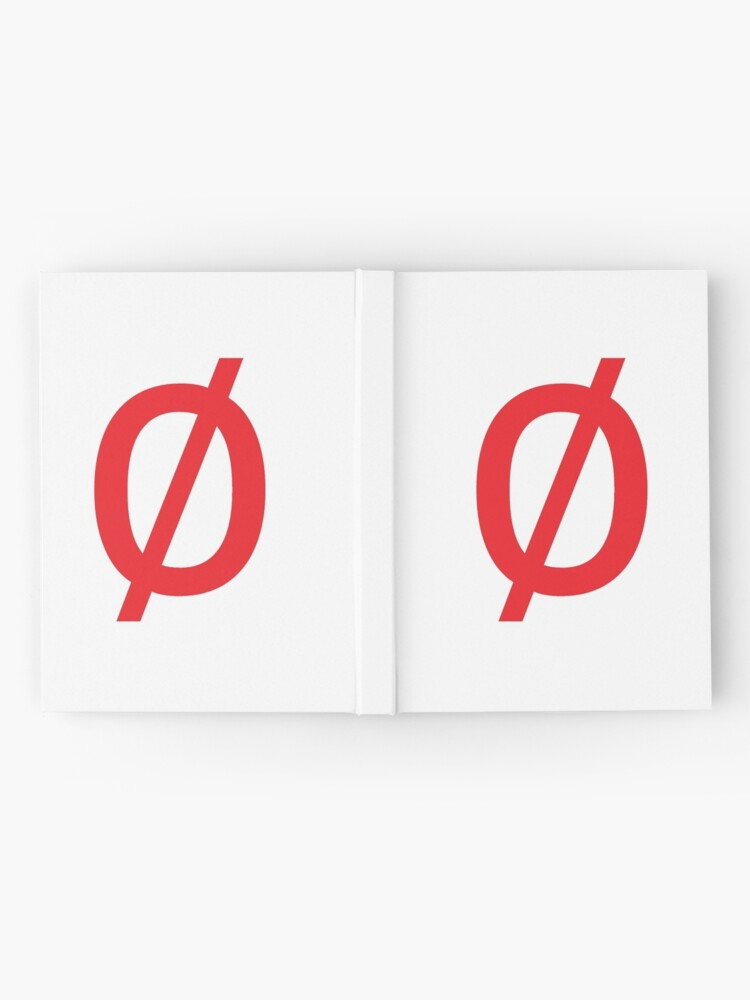"Alternate view of Empty Set - Unicode Character ""∅"" (U+2205) Red Hardcover Journal"