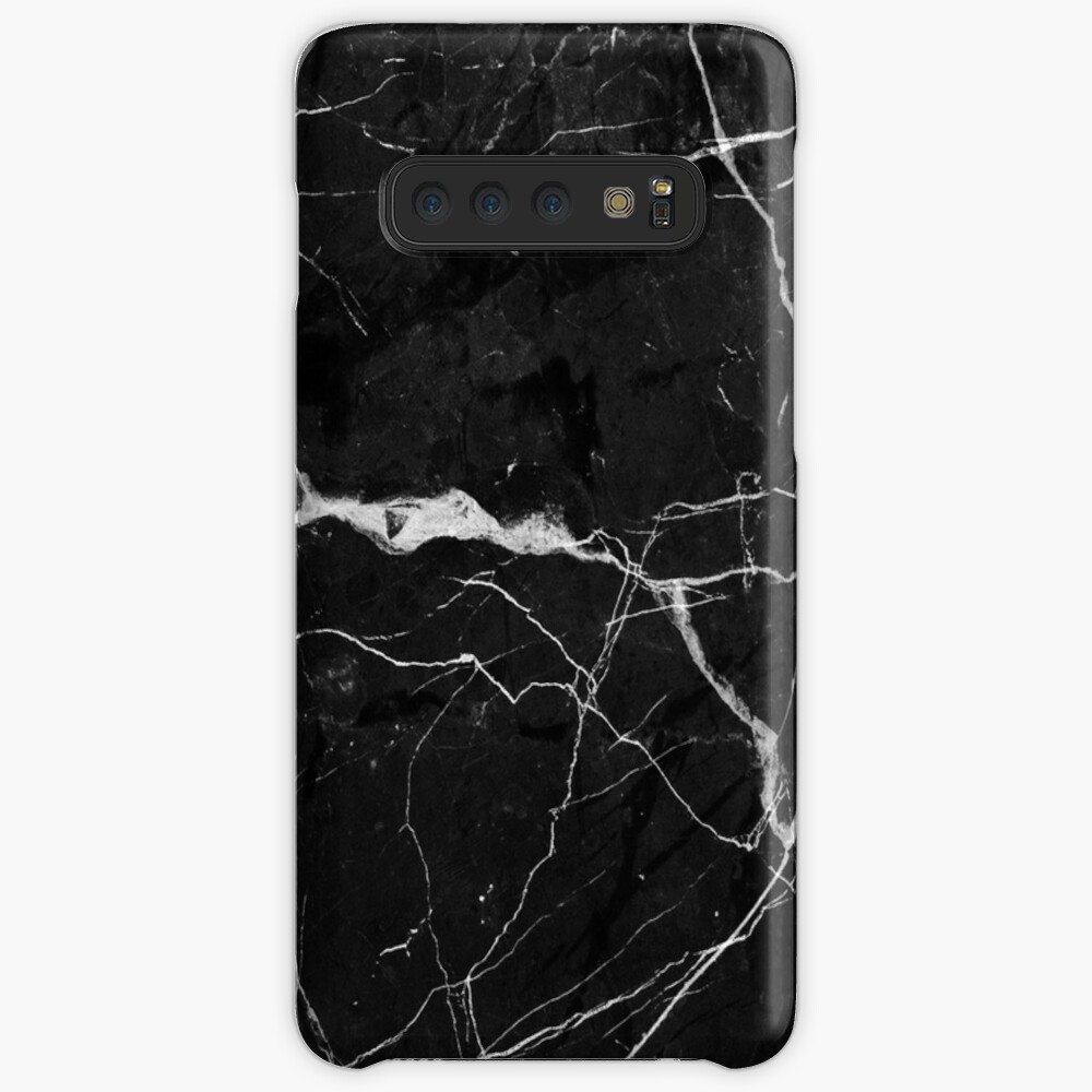Black Suede Marble With White Lightning Veins Cases & Skins for Samsung Galaxy