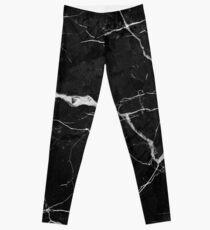 Leggings Mármol de gamuza negra con vetas de rayos blancos