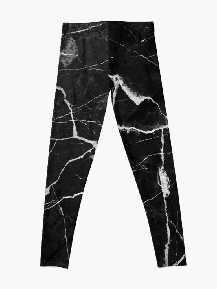 Alternate view of Black Suede Marble With White Lightning Veins Leggings