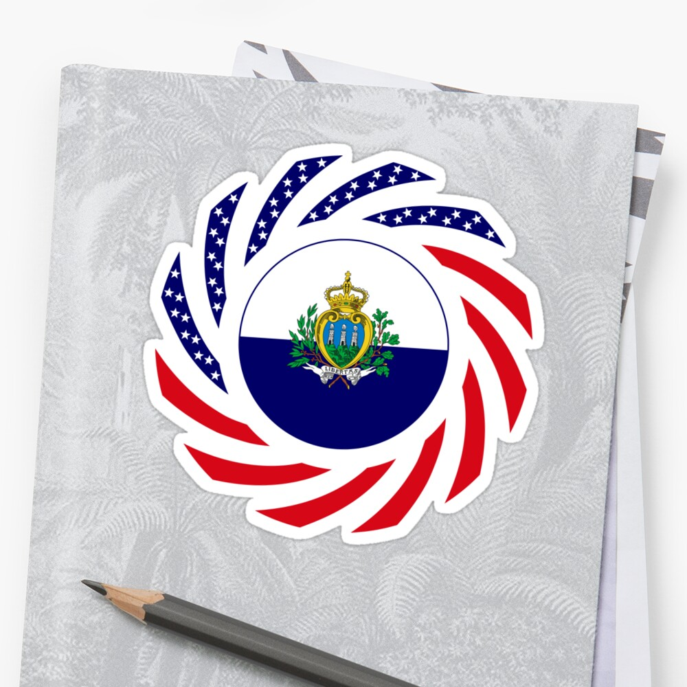 San Marino American Multinational Patriot Flag Series Sticker