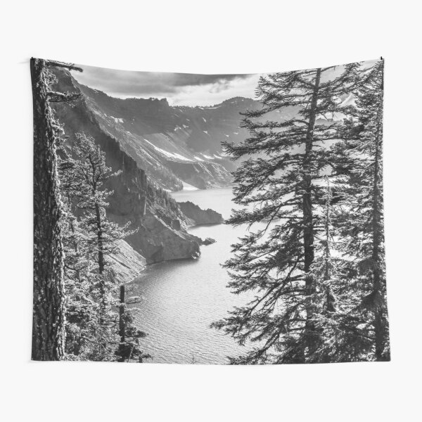 Mountains and Forest Lake Water - Black and White Crater Lake Oregon Tapestry