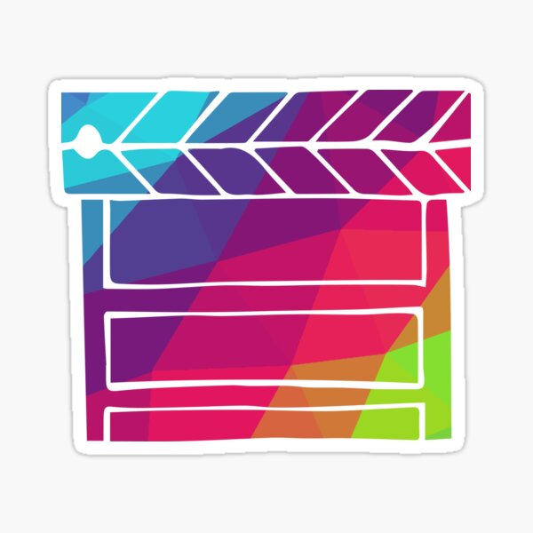 Cute and Colorful Film Play Video with Rainbow Polygon Color. Vector Illustration for Shirt, Sticker, Mug, Phone Covers and more. Sticker