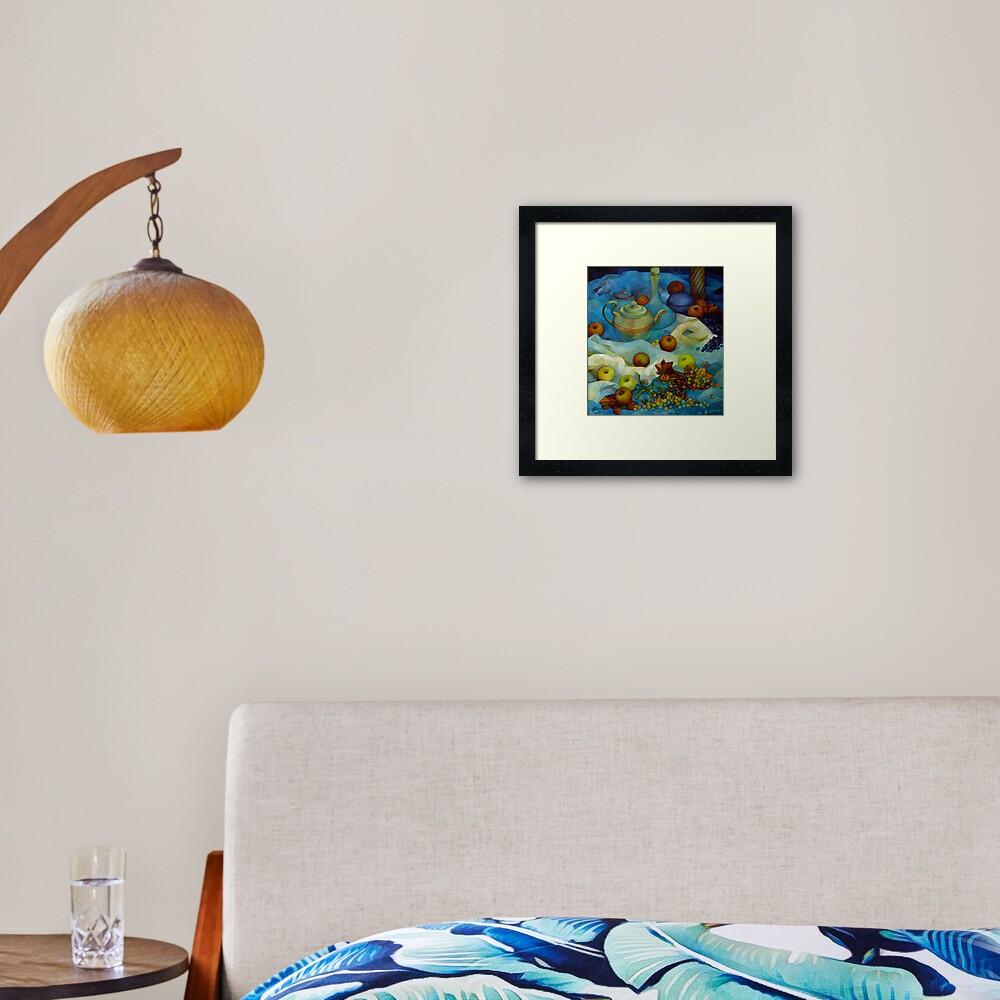 blu still life Framed Art Print