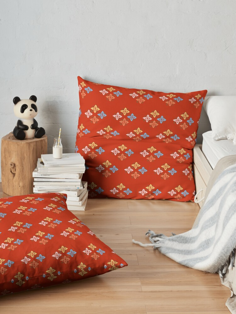 Alternate view of Las Flores - Red 02 (Patterns Please) Floor Pillow