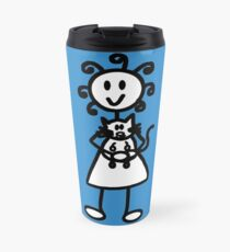 The Girl with the Curly Hair Holding Cat - Blue Travel Mug