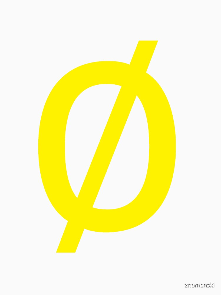 "Empty Set - Unicode Character ""∅"" (U+2205) Yellow by znamenski"