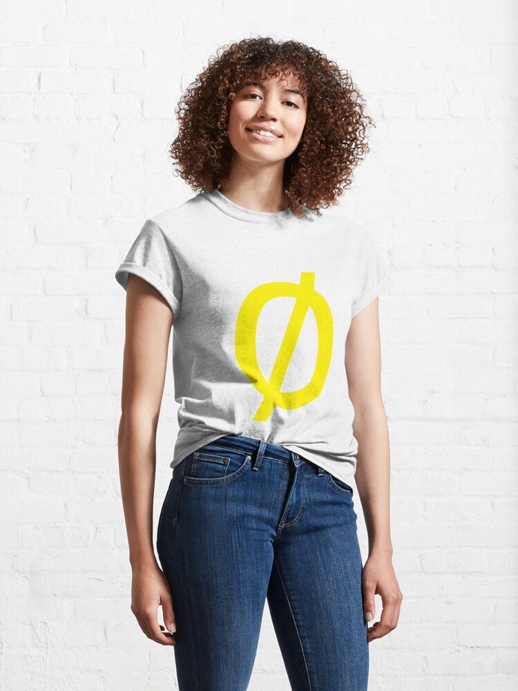 "Alternate view of Empty Set - Unicode Character ""∅"" (U+2205) Yellow Classic T-Shirt"