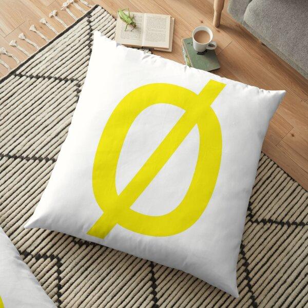 """Math, Empty Set - Unicode Character """"∅"""" (U+2205) Yellow Floor Pillow"""