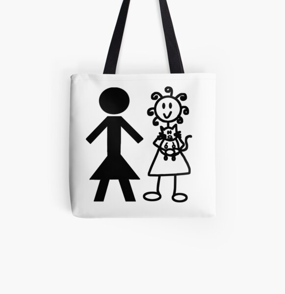The Girl with the Curly Hair Holding Cat and NT Woman - White All Over Print Tote Bag