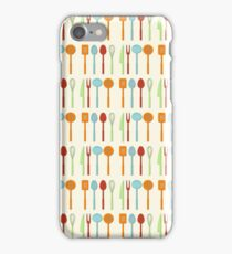Kitchen Utensil Colored Silhouettes on Cream iPhone Case/Skin