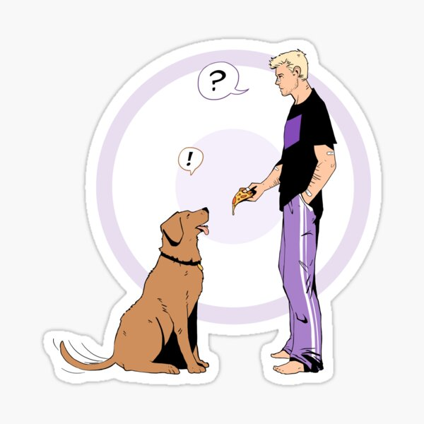 Hawkguy and Pizza Dog (color) Sticker