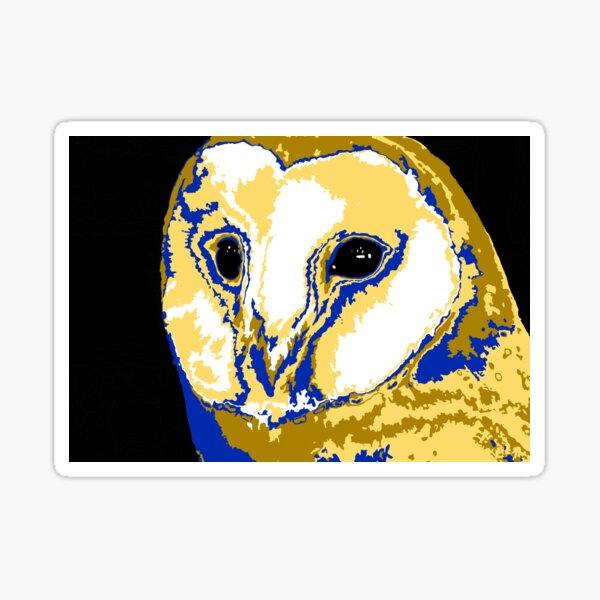 Blue and Orange Barn Owl Sticker