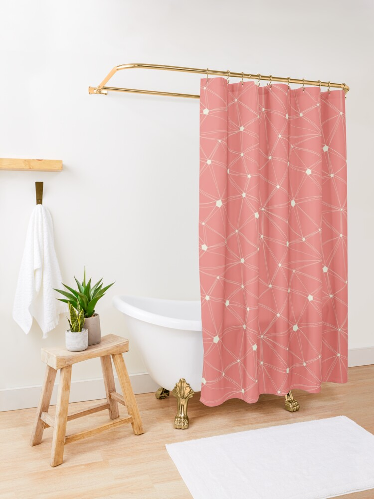 Alternate view of Pentagon grid coral Shower Curtain