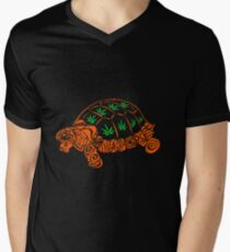 Turtle with Marijuana Leaves Mens V-Neck T-Shirt